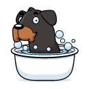 Cartoon of a female dog in a bath surrounded in bubbles